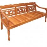 ספסל עץ טבעי תלת-מושבי