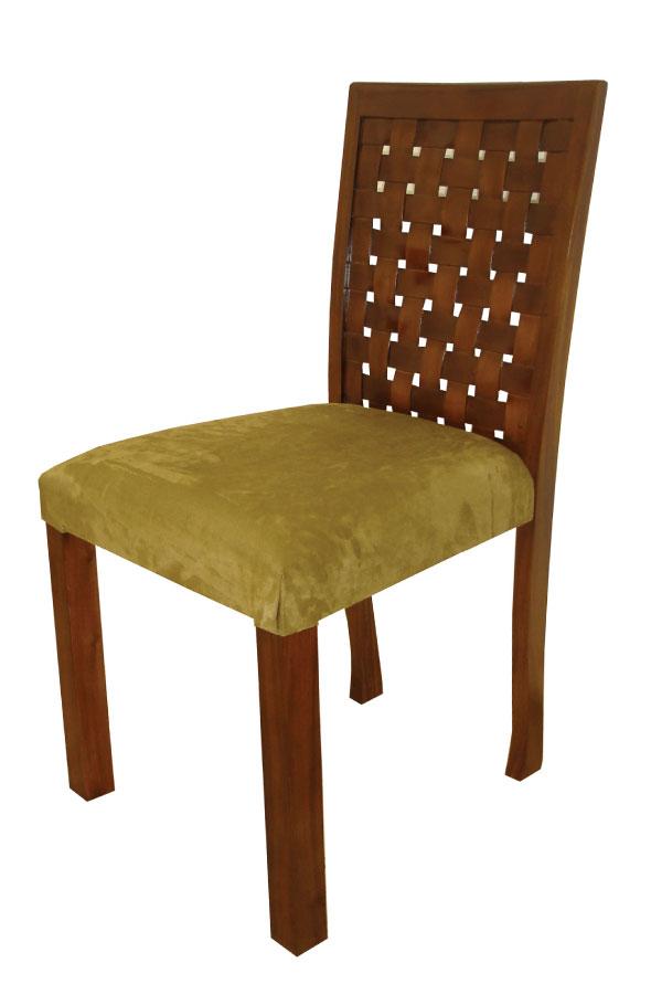 כסא אוכל מרופד ירוק גב שתי וערב