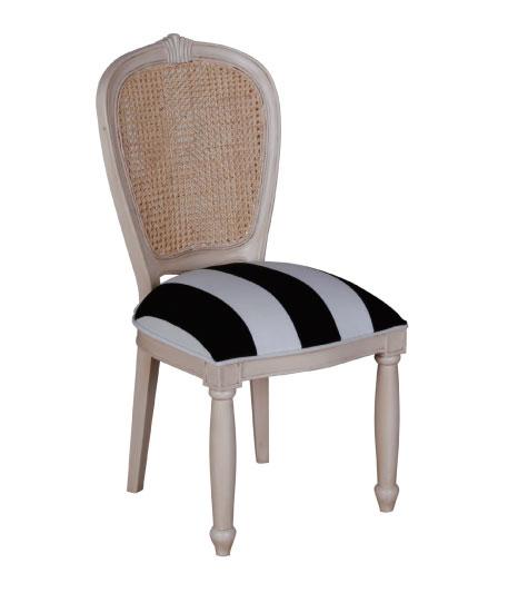 כסא אוכל ריפוד פסים עם גב קש
