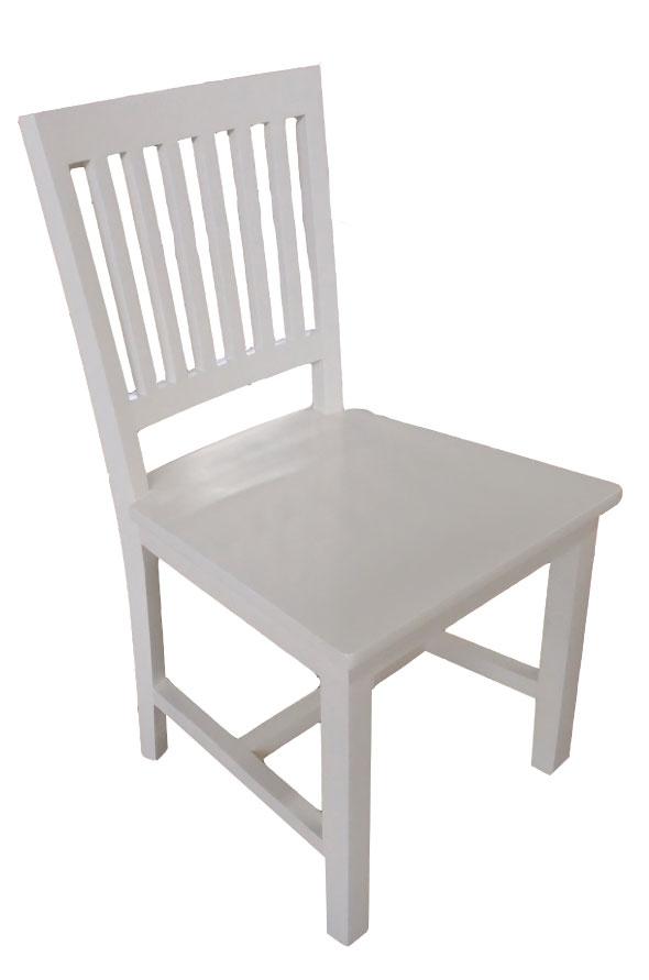כסא אוכל לבן מעץ מהוגני