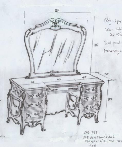 שולחן טואלט מעוצב עם גילופים