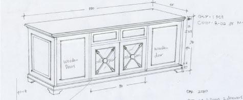 מזנון עץ מהגוני עם דלתות זכוכית