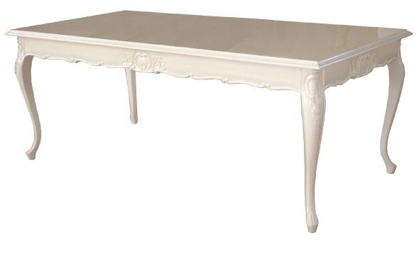 שולחן אוכל מעץ בגימור ווש לבן