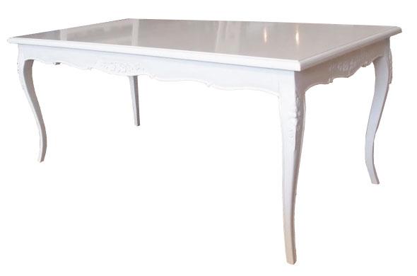 שולחן אוכל קלאסי בצבע לבן