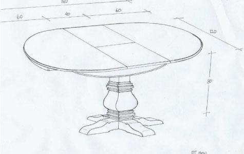 שולחן אוכל עגול נפתח מעץ מינדי