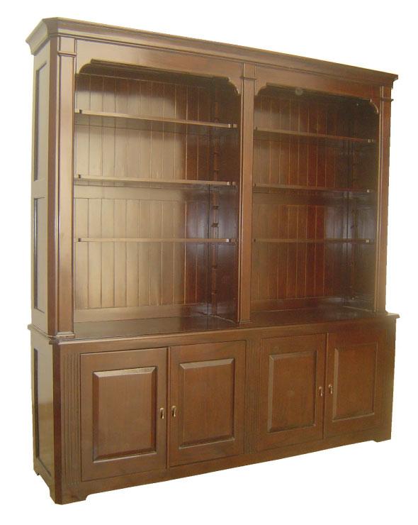 ספריה משולבת מעץ טיק