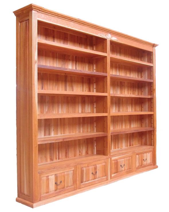 ספריה כפרית מעץ מהגוני