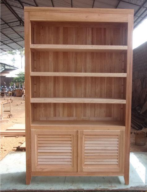 ספריה מעץ מהגוני עם מדפים מעץ מינדי
