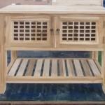שידת אמבטיה כפרית מעץ טיק