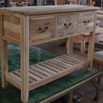 שידת אמבטיה מעץ עם מדף תחתון
