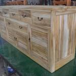 שידת אמבטיה רחבה מעץ טיק מלא