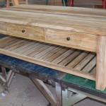 שולחן סלון בסגנון כפרי מעץ טיק מלא