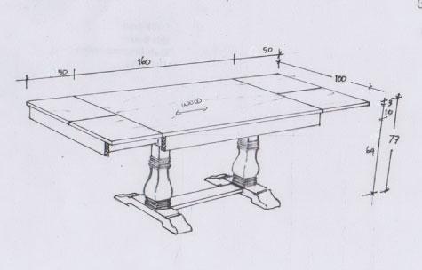 שולחן אוכל מעץ תיק מלא עם הרחבות