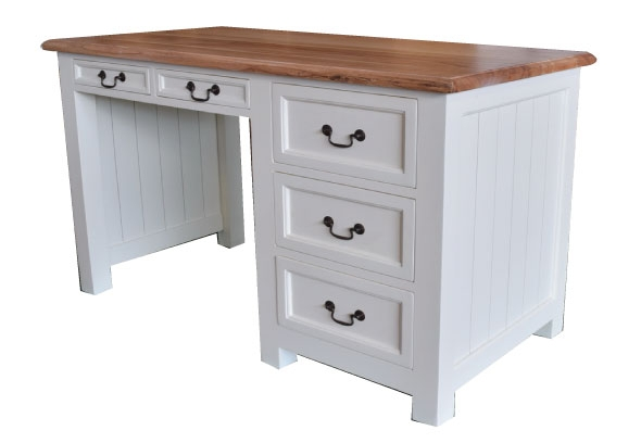 שולחן כתיבה מעץ מלא מעוצב בסגנון כפרי