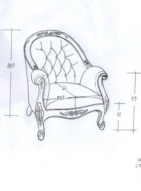 כורסא בעיצוב פרובנס עם בד ברוקד