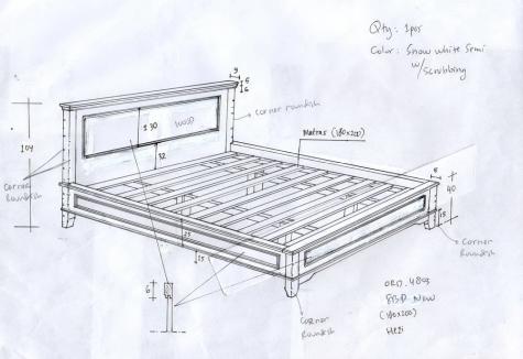 מיטה קלאסית מעץ מלא