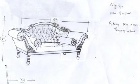 ספה מלכותית עם גילוף אינדונזי