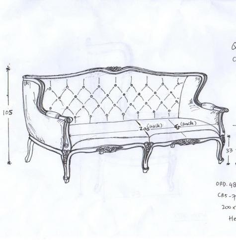 ספה מעוצבת בסגנון וינטג'