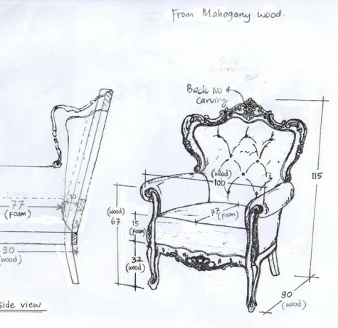 כורסא מעוצבת פרובנס