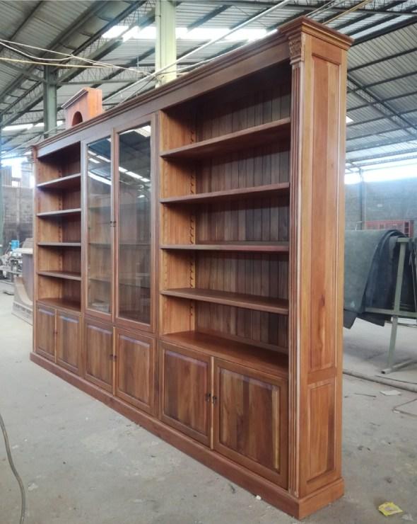 ספריה מעץ מהגוני מלא