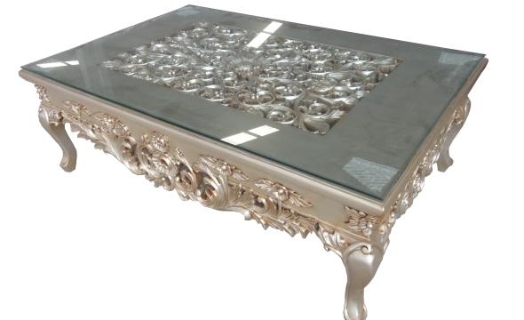 שולחן סלון עם פלטת זכוכית