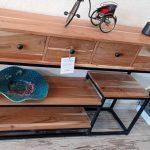"""קונסולה עץ מלא בשילוב ברזל במידות 115-30-80 ס""""מ: מחיר 2160 ש""""ח במקום 4320"""